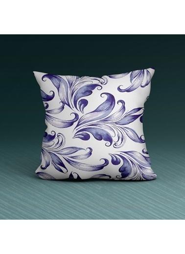 Artikel Lacivert Çiçekler Dekoratif Çift Taraflı Yastık Kırlent Kılıfı 45x45 cm Renkli